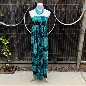 Old Navy Blue & Green Paisley Maxi Dress